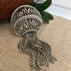 Vintage Silver-tone Jellyfish Brooch Moving Legs